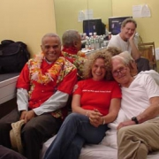 A moment to relax...Kevin Kline, Harry Belafonte, Carole, Paul Newman. Photo by Rudy Guess
