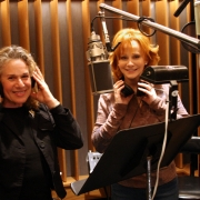 Carole and Reba record vocal tracks. Photo by Glenn Sweitzer