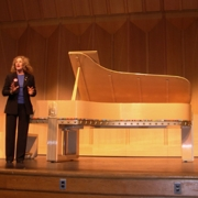Carole greets the crowd in the Emilie K. Asplundh Concert Hall in the Phillips Memorial Building. Photo by Jacobs Music Company