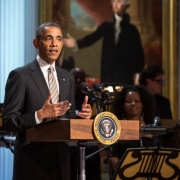 """President Barack Obama delivers remarks during a concert honoring singer-songwriter Carole King in the East Room of the White House, May 22, 2013. The President presented King with the 2013 Library of Congress Gershwin Prize for Popular Song.  """"Carole King: The Library of Congress Gershwin Prize In Performance at the White House"""" """" can be viewed at pbs.org . Photo credit: White House photo by  David Lienemann."""