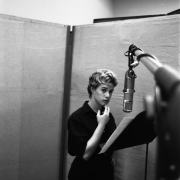 Carole in the vocal booth of Studio B in the RCA Studios NYC 1959..