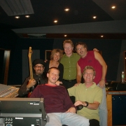 Hanging out in the studio with Mark Hudson, Chris Brooke, Paul Brady, Gary Burr and Rudy Guess. Photo by Michael McCoy