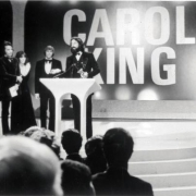 Lou Adler accepting Grammy Awards for Carole. From the Collection of Lou Adler