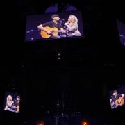 Phoenix  - Carole and James overhead screens.  Photo by Elissa Kline