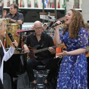 """Carole and Abby Mueller sing """"I Feel The Earth Move"""". Photo: Elissa Kline"""